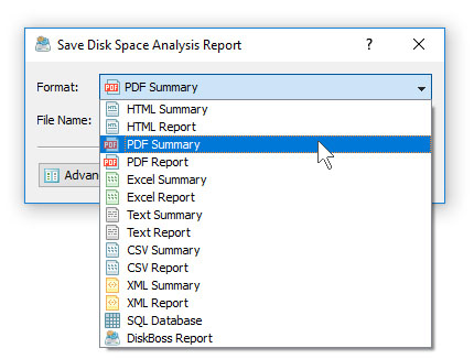 Save PDF Disk Space Analysis Report