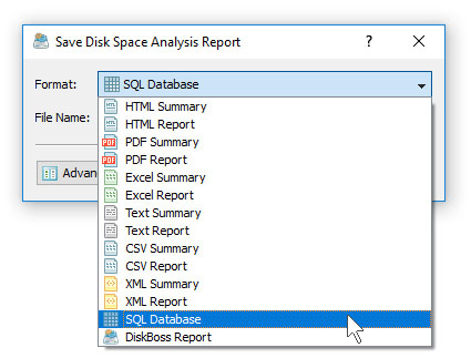 Disk Space Analysis Save SQL Database Report