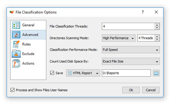 DiskBoss File Classification Options