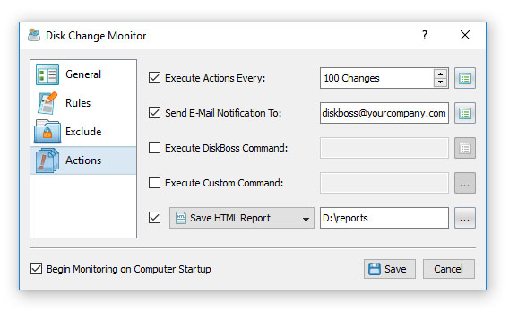 Disk Change Monitoring E-Mail Notifications
