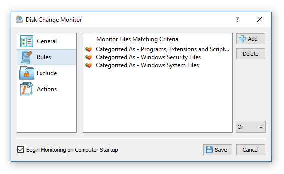 Disk Change Monitoring Rules