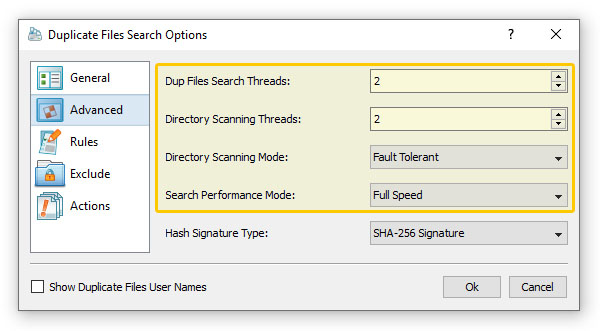 Duplicate Files Search Performance Options