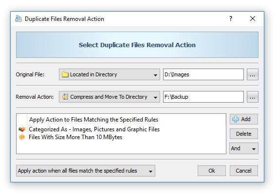 DiskBoss Duplicate Files Removal Action