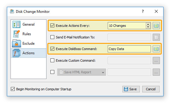 DiskBoss File Copy Server Monitor Actions