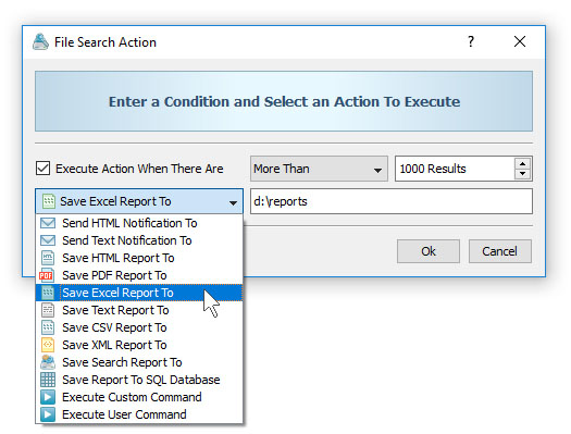 File Search Conditional Action