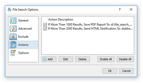 File Search Conditional Actions