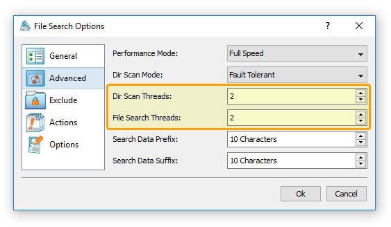 DiskBoss File Search Performance Options