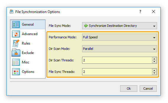 File Synchronization Performance Tuning Options