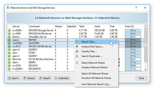 Search Files in Network Servers and NAS Storage Devices