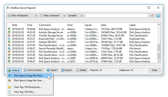 Analyzing Disk Space Usage Per Server