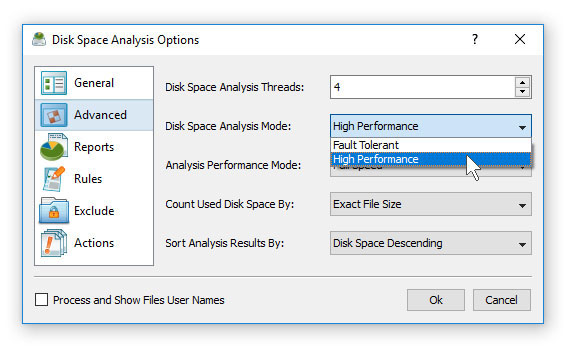 Disk Space Analysis Performance Options
