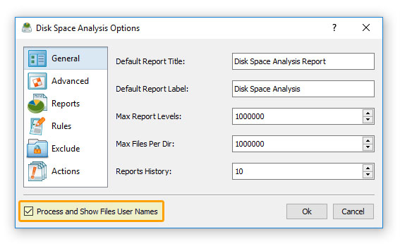 Disk Space Analysis Options Show User Names