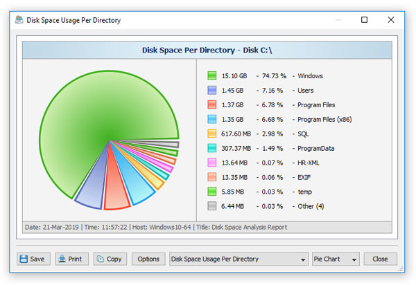 DiskBoss Disk Space Analysis Pie Chart Directories
