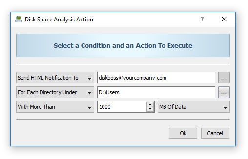 Conditional Disk Space Analysis Action