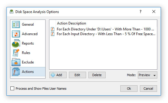 Conditional Disk Space Analysis Actions