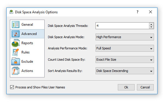 Disk Space Analysis Options