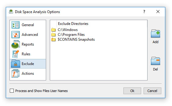 Excluding Subdirectories from Disk Space Analysis Process