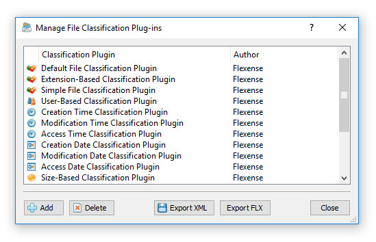 DiskBoss Manage File Classification Plug-ins