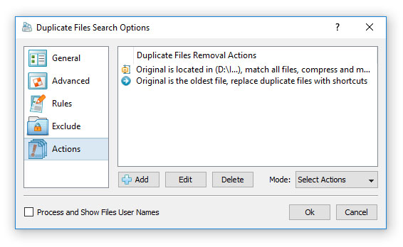 DiskBoss Duplicate Files Removal Actions