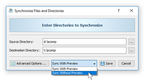 File Synchronization Without Preview
