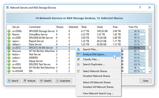 Search Network Servers and NAS Storage Devices