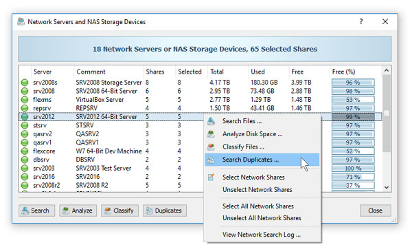 Search Duplicate Files in Network Servers