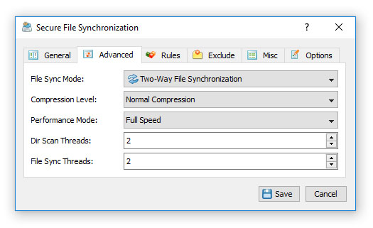 Secure File Synchronization Advanced Options
