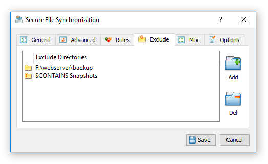 Secure File Synchronization Exclude Directories