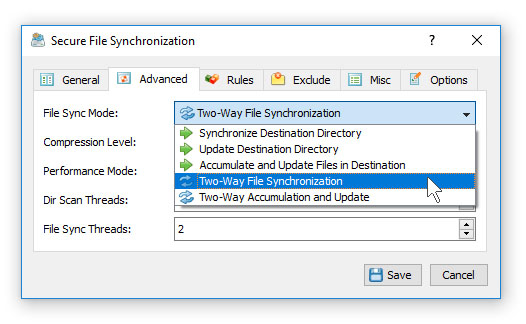 Secure File Synchronization Modes